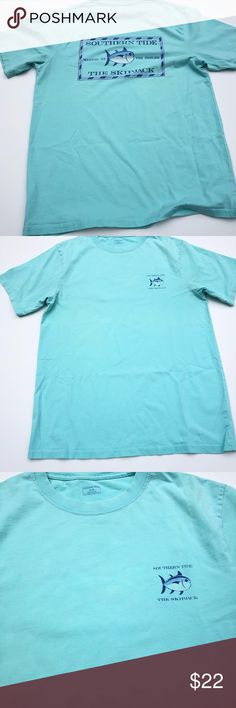 """Southern Tide T-Shirt Southern Tide T-shirt Size medium There is a spot/stain  on the front. Please see last picture with the dime Approximate measurement lying flat: armpit to armpit 20"""" and total length 28"""" Southern Tide Shirts Tees - Short Sleeve"""