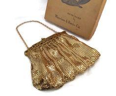 ✰☾ Whiting and Davis Gold Mesh Purse - Original Box, Art Deco, Metal Mesh, Intricate http://etsy.me/2cAcuJQ