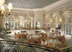 The Palm Court at the London Waldorf Hilton--This stunningly beautiful room was once used for the hotel's afternoon teas.