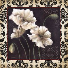 <br> Black & White Poppy Damask I <br> Beautiful Flowers Pictures, Flower Pictures, Blackboard Art, Damask Stencil, Decoupage Paper, Free Prints, Watercolor Flowers, Poppies, Art Decor