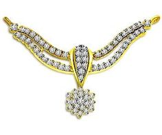 Mangalsutra with a Flower design. Width of the mangalsutra is 5 cm – quite big – proper in size. Diamond used in it are of (little) lower color & clarity -  BUT as per the quantity of diamonds used in it is around 1.00 carat – that really matters! Almost feels like they designed the concept – keeping feeling of the Indian womens intact...... Indian Jewelry, Flower Designs, Clarity, Feels, Diamonds, Concept, Jewellery, Color, Big