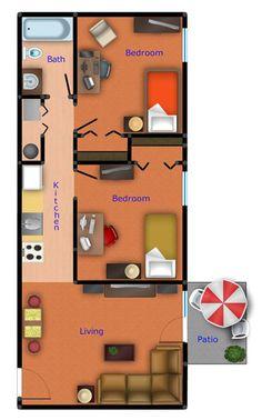 Two Bedroom Flat | Floor Plans | Evergreen Terrace Apartments | Apartments near…