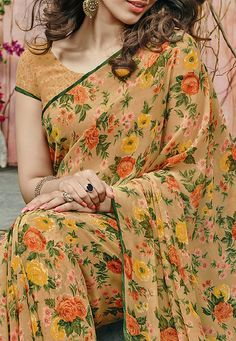 Floral Printed Georgette Saree in Beige and Multicolor: SSF2461