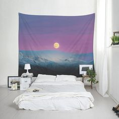Icelandic moon under purple sky wall tapestry, Moon tapestry Landscape photography Fabric wall art, Birthday gift, Outdoor wall decor. Black Wall Decor, Cute Wall Decor, Iron Wall Decor, Map Wall Decor, Bathroom Wall Decor, Fabric Wall Decor, Man Cave Wall, Moon Tapestry, Purple Sky