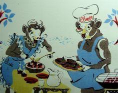 Vintage Elsie and ELMER Cow Paper FAN For BORDEN by GypsySeller on Etsy