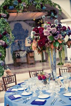 Vintage inspired tall centerpiece by Imviting Occasion at Rancho Las Lomas