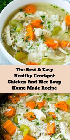 Find the Best and Easy Healthy Crock pot Chicken And Rice Soup Home Made Recipe. Slow Cooker Recipes, Cooking Recipes, Healthy Recipes, Healthy Crockpot Soup Recipes, Crock Pot Soup Recipes, Healthy Crock Pot Meals, Instapot Soup Recipes, Easy Crockpot Soup, Cooking Rice