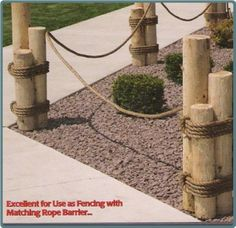 Image detail for -. nautical landscaping ideas nautical pilings make a lovely garden Nautical Landscaping, Backyard Landscaping, Landscaping Ideas, Hydrangea Landscaping, Country Landscaping, Rope Fence, Rope Railing, Outdoor Projects, Outdoor Decor
