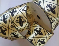 "Fleur De Lis Glitter Ribbon, Black / Gold, 2 1/2"" inch wide, 1 yard, For Home Decor, Gift Baskets, Victorian & Romantic Crafts by PrimroseLaceRibbon on Etsy"