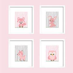 Woodland Animals, CUSTOMIZE YOUR COLORS, 8x10 Prints, set of 4, Pink and Gray Owl Fox Bunny Nursery Decor Print Kids Art Baby Room Baby Girl