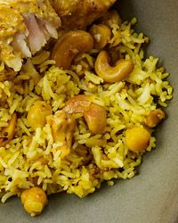 Lemon-Cashew Rice - adding shrimp to the spice mixture should make this a great meal!