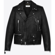 Saint Laurent Classic Black Ysl Motorcycle Jacket ($4,885) ❤ liked on Polyvore featuring outerwear, jackets, rider jacket, lapel jacket, leather motorcycle jacket, studded motorcycle jacket and leather jackets