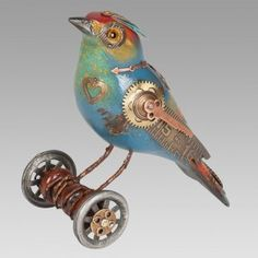 Blue Green Bird on Wheels http://mullaniumbyjimandtori.com/catalog/songbirds