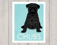 Black Pug Art Print  Custom Dog Art by HappyTailPrints on Etsy