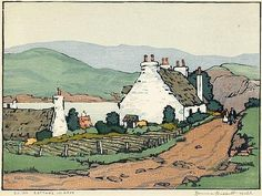 Norma Basset Hall, Cottage in Skye 1930 Woodcut