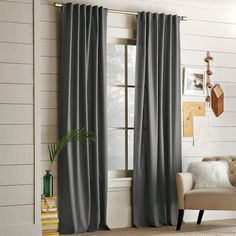 Set of 2: 52 wide/ pure Linen grey curtains/ panels/ by zahrazart