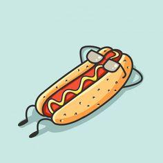Graffiti Art Drawings, Doodle Drawings, Hot Dog Drawing, Arte Do Sushi, Desenho Pop Art, Dog Logo Design, Dog Pop Art, Fat Dogs, Hot Dog Bar