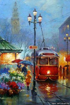 трамвай Street Painting, City Painting, Art And Illustration, Rain Art, Umbrella Art, Acrylic Art, Beautiful Paintings, Oeuvre D'art, Art Pictures