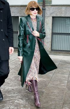 Tweed sensation: Anna Wintour, 68 stepped out at Milan Fashion week, naturally, wearing a ...