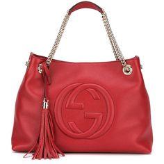 Gucci Soho Shoulder Bag ($1,980) ❤ liked on Polyvore featuring bags, handbags, shoulder bags, shoulder hand bags, red handbags, gucci purse, gucci handbags and tassel purse
