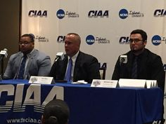 Head Coach Tim Place, Anthony Joffrion and Michael Lugo at @CIAAForLife Football Media Day