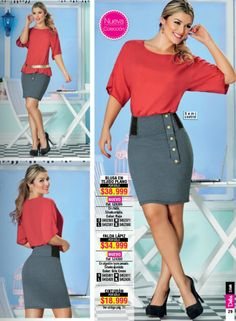 Falda lapiz con silueta ajustada.  La blusa roja combina muy bien. Look de moda 2015