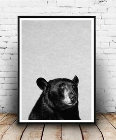 bear Print Woodlands Decor Wilderness Wall Art Nursery Black and White Animal Print Printable Art bear Head Download Forest Animal Poster by Nellisart on Etsy