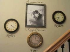 Stop the clock when your babies were born. A moment in time, changed forever ... Beautiful wall decor!