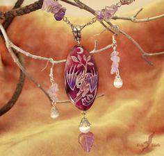 Moonlight dragon baby  - necklace - stone painting by AlviaAlcedo.deviantart.com on @deviantART