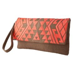 Coral Embroidered Clutch from Target