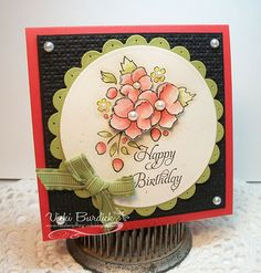 handmade card by Vicki Burdick on It's A Stamp Thing blog ... square card ... round focal point like the coloring any layering of the posey from Bordering on Romance ... Stampin' Up!