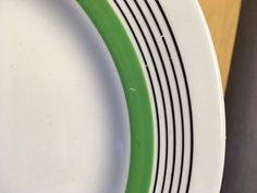 Royal DOULTON Radiance showing the 5 black lines and green band and some missing glaze.