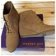 "Madden Girl Domain tan wedge Lace-up wedge bootie in faux suede finish, approximately 2.75"" heel height. Unworn, NIB condition. True size 10. Steve Madden Shoes Ankle Boots & Booties"