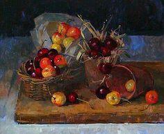 petitpoulailler:    stilllifequickheart: 2012 Pamela Kay (English, 1939) ~Still Life with Cherries
