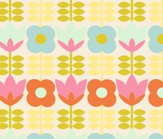 floral_spring_fond_beige_M fabric by nadja_petremand on Spoonflower - custom fabric