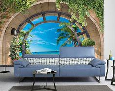 Papier peint photo paysage trompe l'œil 3D - Plage tropicale vue depuis le grand arc National Flag, Outdoor Furniture, Outdoor Decor, Decoration, Sun Lounger, Destinations, Home Decor, Luxury, Ornaments