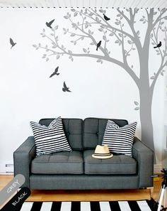 Wall Decals Huge Tree wall decal Wall Mural Stickers Huge Nursery Tree with Leaves and Birds Vinyl Wall Art Tattoo Nature Decor  - 001