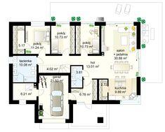 Wiesiołek 3 G projekt - Parter 125.27 m²  + garaż 21.53 m² Modern Family House, Small House Design, Planer, House Plans, Floor Plans, How To Plan, Houses, Home Plans, Design For Small House