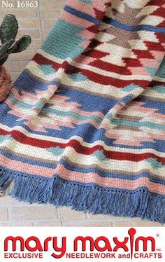Crochet this Graph-ghan with this wonderful pattern. Use Mary Maxim Worsted Weight yarn to crochet this afghan.