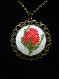 Cross stitch jewelry Red rose embroidered pendant Chic red rose locket necklace Stylish pendant Flower jewelry Rose necklace Women gift - Style Tips Gifts For Women, Gifts For Her, Rose Necklace, Locket Necklace, Red Flowers, Red Roses, Chic Chic, Flower Jewelry, Jewelry For Her