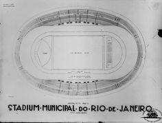 Um dos primeiro projetos apresentados para o Maracanã, ainda sem o contorno de arquibancadas completo.