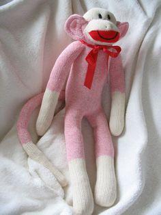 Pink Sock Monkey Bubblegum Pink Sock Monkey by auntyanndesigns
