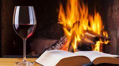 Kieliszek, Wino, Książka, Ogień