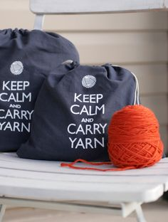 Small knitting project bag - Keep Calm and Carry Yarn - steel wool gray. $16.00, via Etsy.