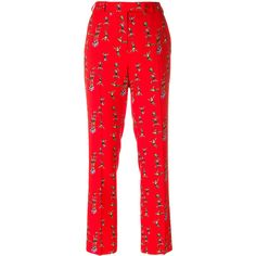 Etro circus print tailored trousers ($600) ❤ liked on Polyvore featuring pants, red, zip pants, red trousers, boho pants, cropped pants and patterned pants