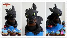Toothless cake and accompanying viking cupcakes for How to Train Your Dragon 2 #httyd2   by Fernanda Abarca Cakes
