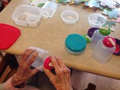 Good activity for people with dementia who rummage or fidget, to put on and take off covers from containers.