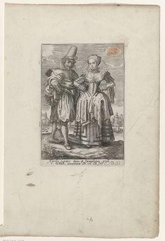 Crispijn van de Passe (II)   April: man en vrouw in Franse kleding ca. 1615-'20, Crispijn van de Passe (II), 1615 - 1625   Man en vrouw uit Frankrijk (Gallia), gekleed volgens de mode van ca. 1625. Rivier en stad op de achtergrond. Teken van de zodiac RAM rechtsboven. Met 2 regels onderschrift in Latijn: Aprilis veneri....Gallia....solo