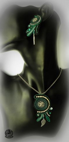 Green soutache set of pendant and earrings by caricatalia on DeviantArt