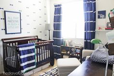 Blue and Green Preppy Nursery - how great is that bow tie accent wall?!